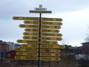 Rozcestník v Narviku